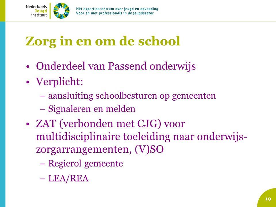 Landelijke zorgstructuur PO-JZ Zorgteam -één kind, één plan -óp school -'eenvoudige' problematiek -multidisciplinair: IB'er + jvk + smw (+ ouders) -analyse + verheldering onderwijs + zorgbehoeften -handelingsadviezen school -snelle actie + korte lijnen -licht ambulante hulp Zorgteam -één kind, één plan -óp school -'eenvoudige' problematiek -multidisciplinair: IB'er + jvk + smw (+ ouders) -analyse + verheldering onderwijs + zorgbehoeften -handelingsadviezen school -snelle actie + korte lijnen -licht ambulante hulp Zorg- en advies Team -één kind, één plan -bovenschools / WSNS -complexe problematiek -multidisciplinair: WSNS + jeugdarts + smw + orthopedagoog + BJZ + REC e.a.