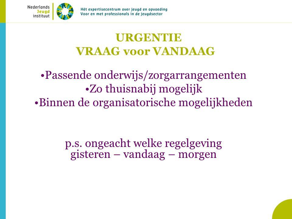 URGENTIE VRAAG voor VANDAAG Passende onderwijs/zorgarrangementen Zo thuisnabij mogelijk Binnen de organisatorische mogelijkheden p.s.