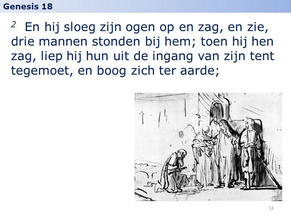 2 En hij sloeg zijn ogen op en zag, en zie, drie mannen stonden bij hem; toen hij hen zag, liep hij hun uit de ingang van zijn tent tegemoet, en boog