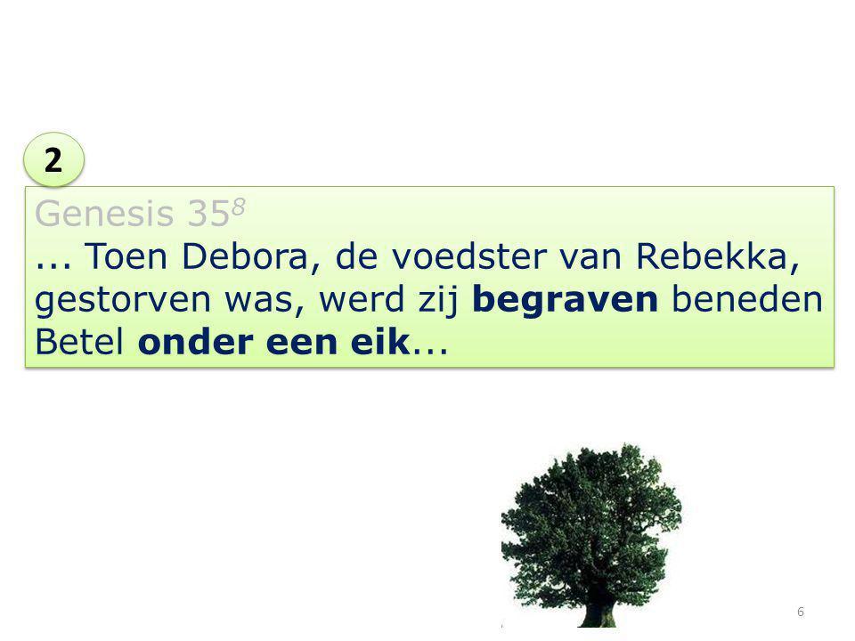 Genesis 35 8... Toen Debora, de voedster van Rebekka, gestorven was, werd zij begraven beneden Betel onder een eik... 2 2 6