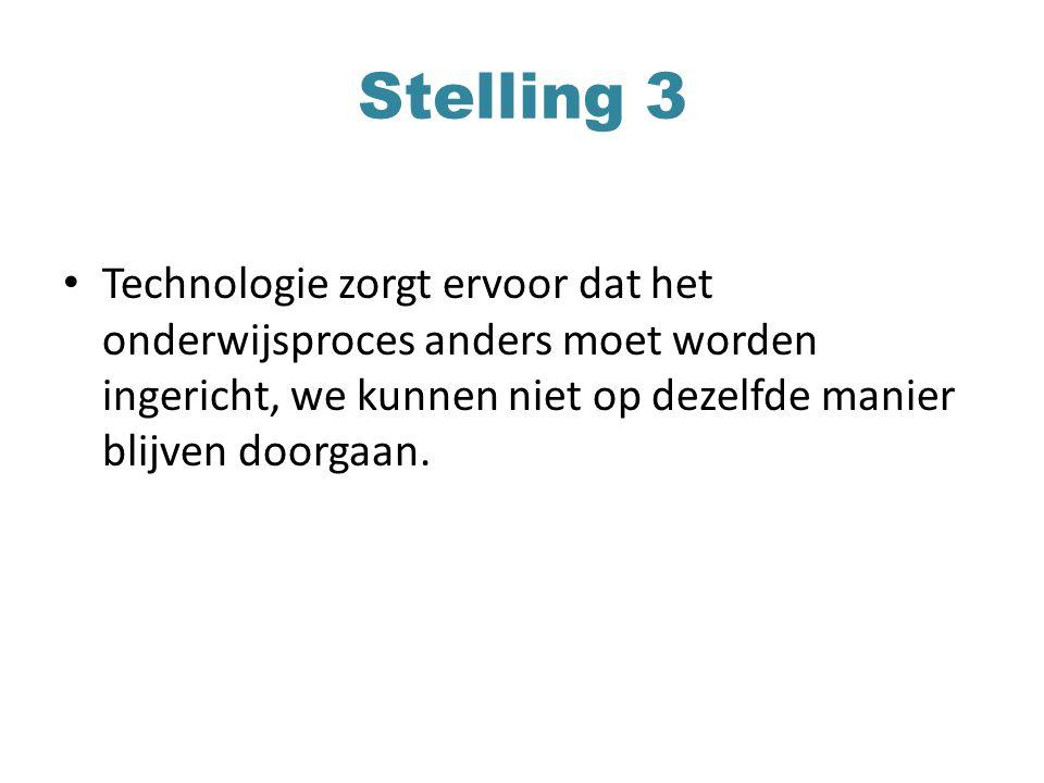 Stelling 3 Technologie zorgt ervoor dat het onderwijsproces anders moet worden ingericht, we kunnen niet op dezelfde manier blijven doorgaan.