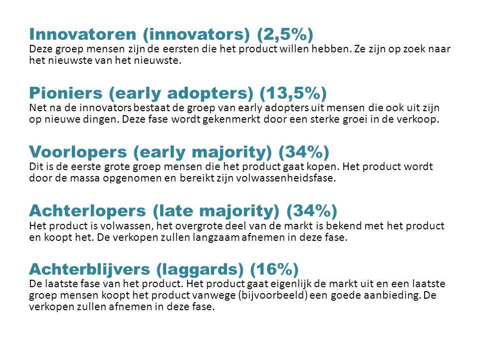 Innovatoren (innovators) (2,5%) Deze groep mensen zijn de eersten die het product willen hebben. Ze zijn op zoek naar het nieuwste van het nieuwste. P