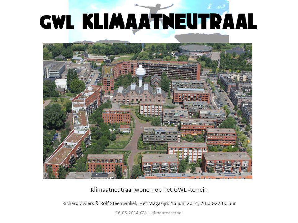 Klimaatneutraal wonen op het GWL -terrein Richard Zwiers & Rolf Steenwinkel, Het Magazijn: 16 juni 2014, 20:00-22:00 uur 16-06-2014 GWL klimaatneutraa
