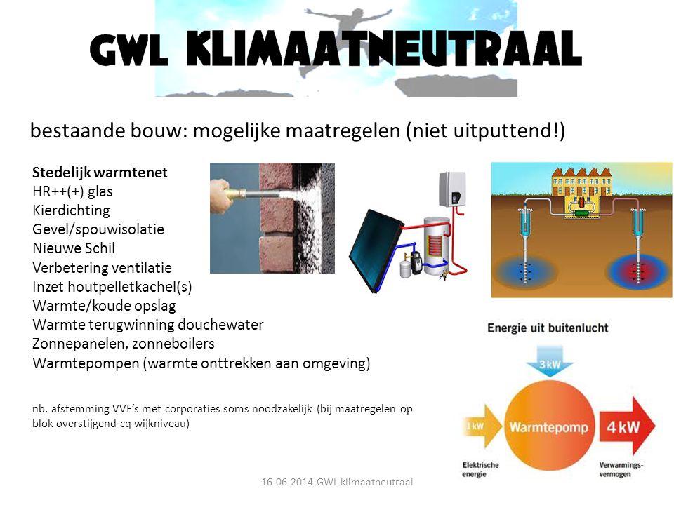 bestaande bouw: mogelijke maatregelen (niet uitputtend!) Stedelijk warmtenet HR++(+) glas Kierdichting Gevel/spouwisolatie Nieuwe Schil Verbetering ve