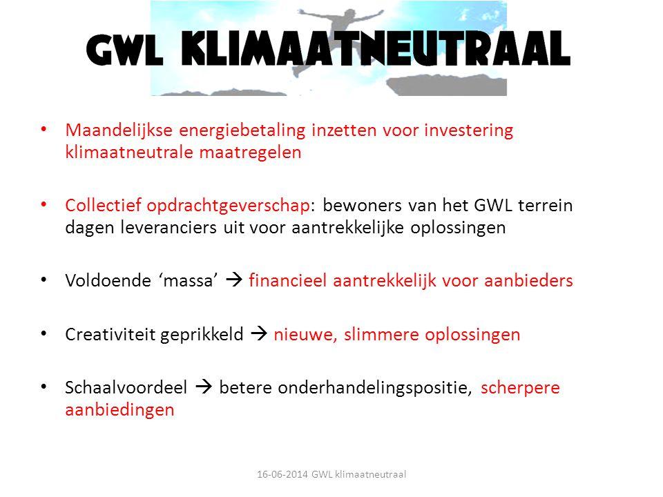Missie Maandelijkse energiebetaling inzetten voor investering klimaatneutrale maatregelen Collectief opdrachtgeverschap: bewoners van het GWL terrein