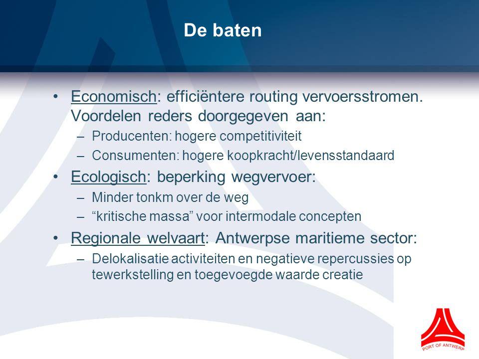 De baten Economisch: efficiëntere routing vervoersstromen.