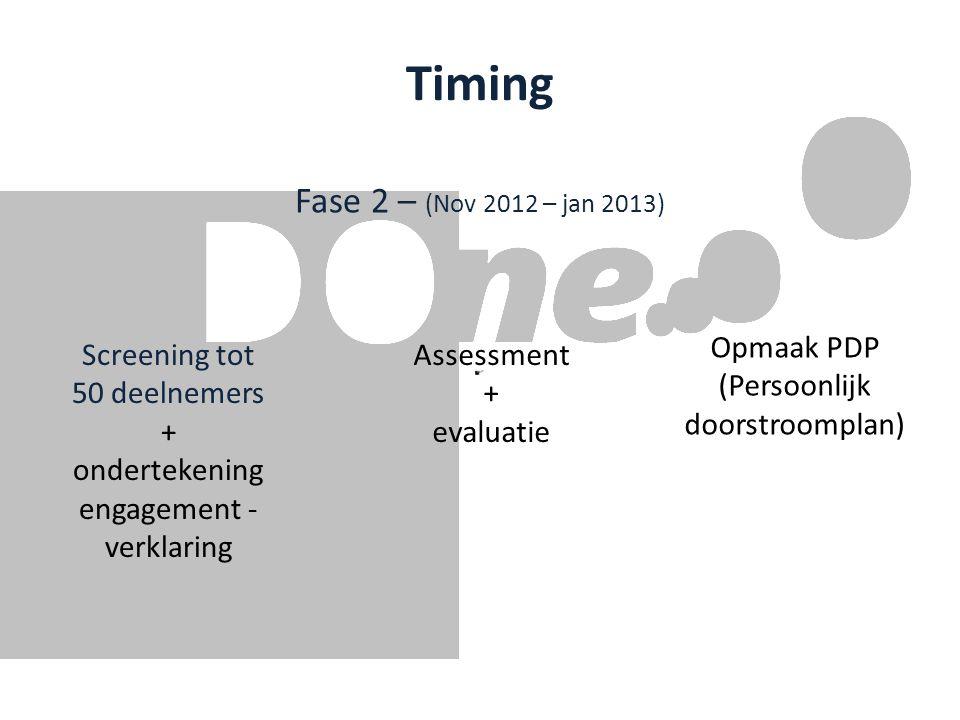 Timing Fase 2 – (Nov 2012 – jan 2013) Screening tot 50 deelnemers + ondertekening engagement - verklaring Assessment + evaluatie Opmaak PDP (Persoonlijk doorstroomplan)