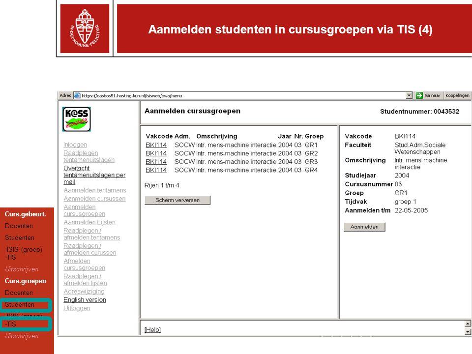 Aanmelden studenten in cursusgroepen via TIS (4) Curs.gebeurt.