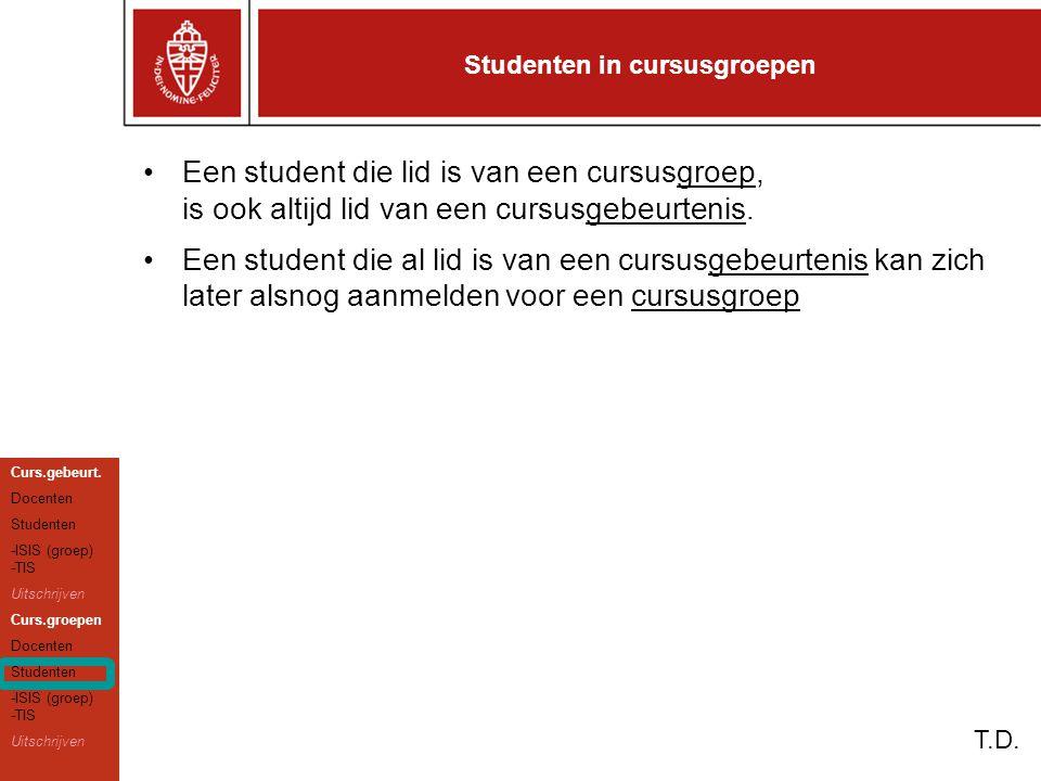 Studenten in cursusgroepen T.D.
