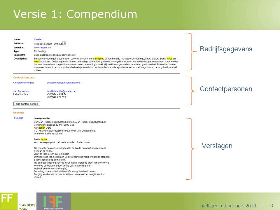 17 CRM&M, databeheer op maat van TIS 'Intelligence For Food' 31/05/2010 – Johan Duré Intelligence For Food 2010