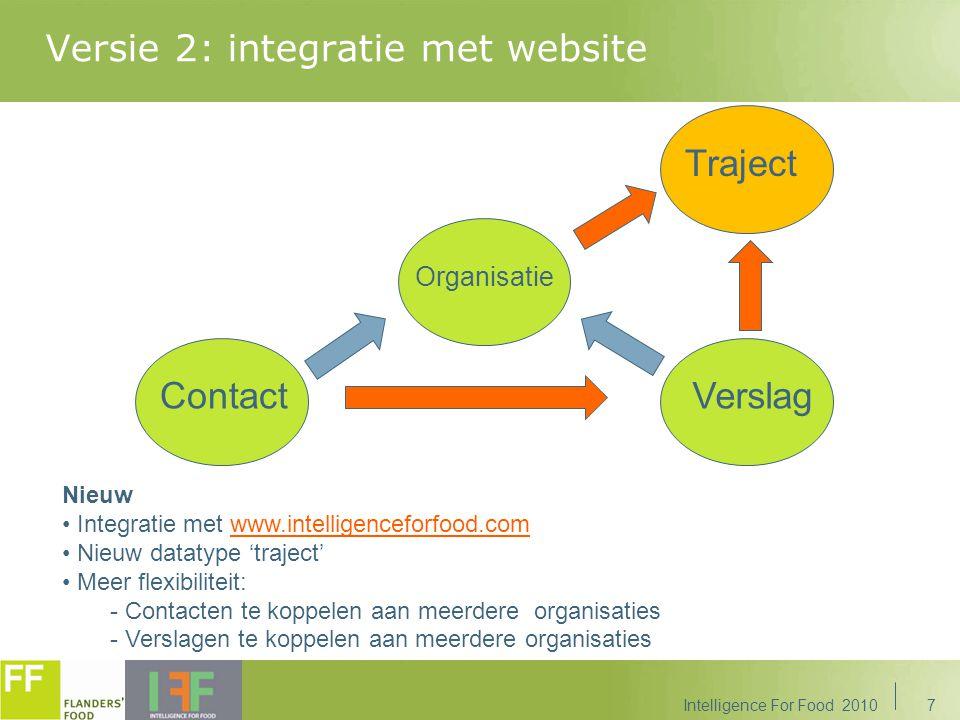 Versie 3: CRM&M(ore) Intelligence For Food 20108 Traject Info Organisatie Verslag Evenement Actie Contact