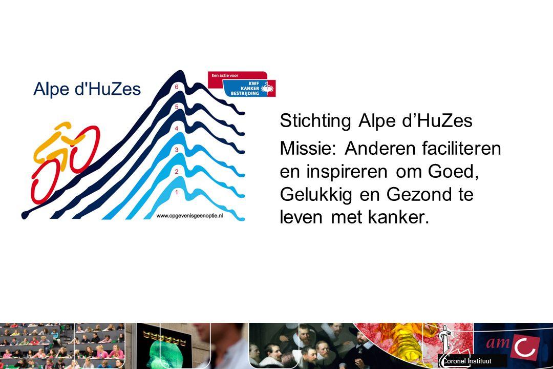 Coronel Instituut Stichting Alpe d'HuZes Missie: Anderen faciliteren en inspireren om Goed, Gelukkig en Gezond te leven met kanker.