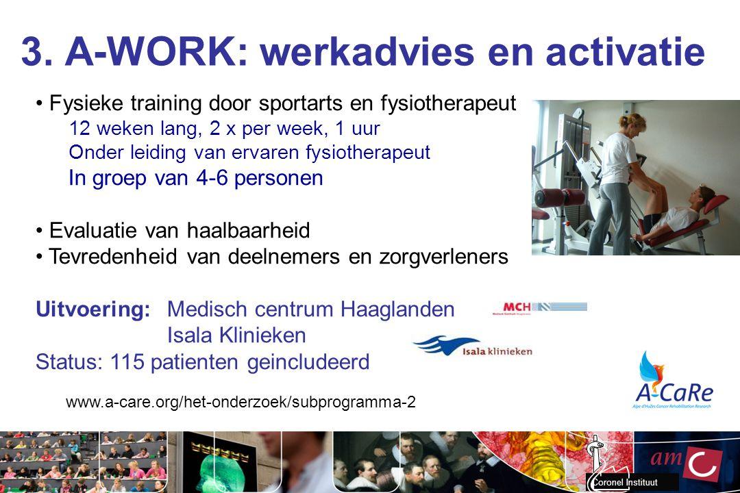 Coronel Instituut 3. A-WORK: werkadvies en activatie www.a-care.org/het-onderzoek/subprogramma-2 Fysieke training door sportarts en fysiotherapeut 12