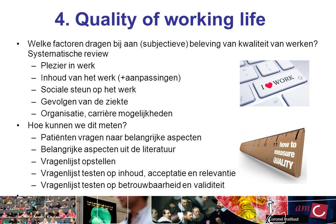 Coronel Instituut 4. Quality of working life Welke factoren dragen bij aan (subjectieve) beleving van kwaliteit van werken? Systematische review –Plez