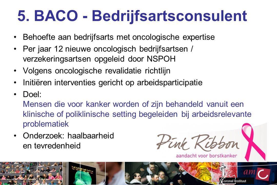 Coronel Instituut 5. BACO - Bedrijfsartsconsulent Behoefte aan bedrijfsarts met oncologische expertise Per jaar 12 nieuwe oncologisch bedrijfsartsen /