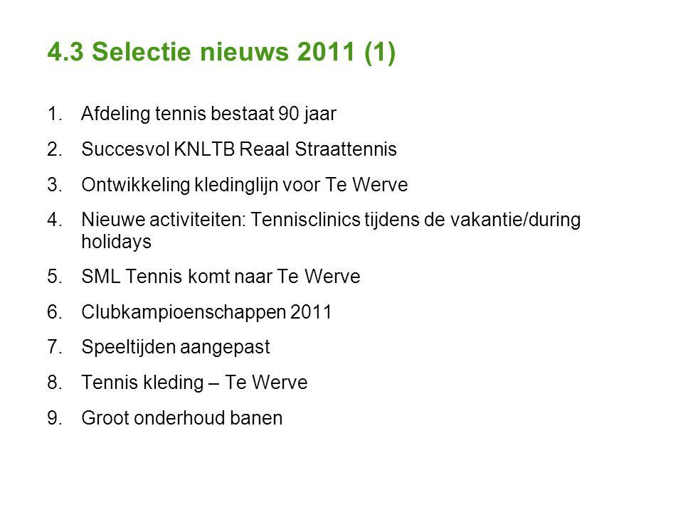 4.3 Selectie nieuws 2011 (1) 1. Afdeling tennis bestaat 90 jaar 2.