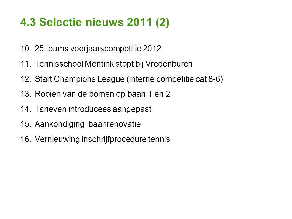 4.3 Selectie nieuws 2011 (2) 10. 25 teams voorjaarscompetitie 2012 11.
