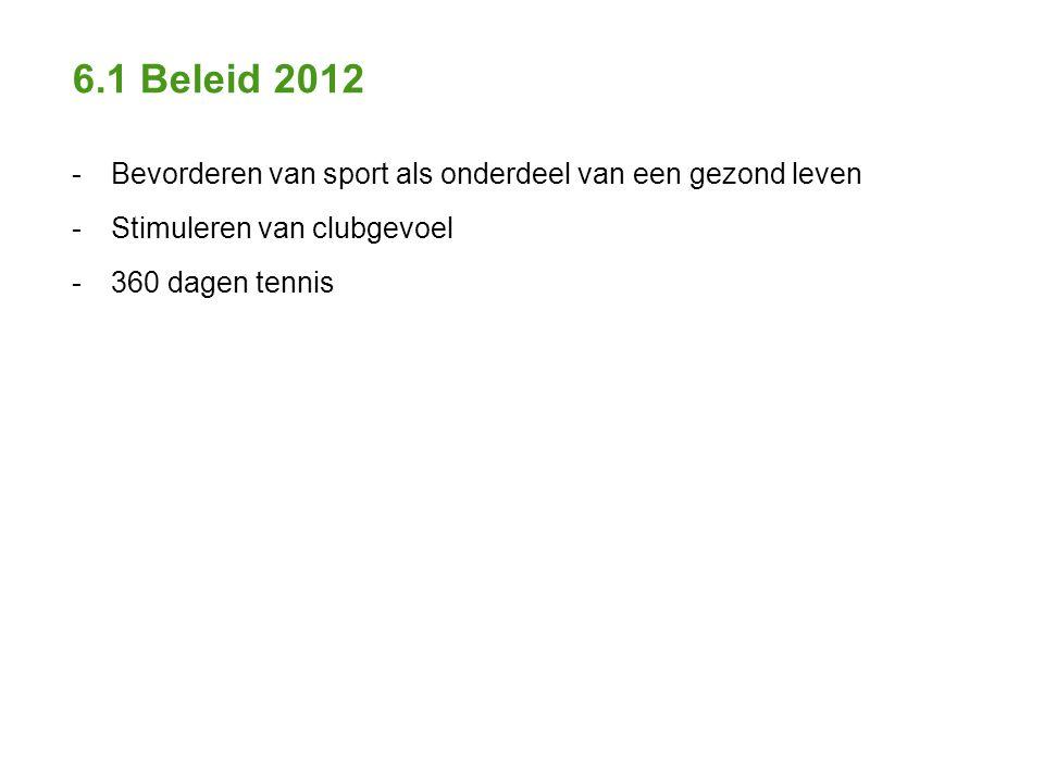 6.1 Beleid 2012 - Bevorderen van sport als onderdeel van een gezond leven - Stimuleren van clubgevoel - 360 dagen tennis