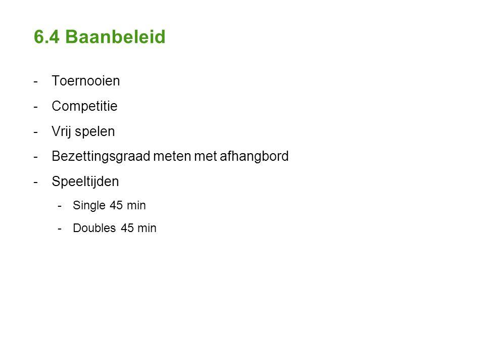 6.4 Baanbeleid - Toernooien - Competitie - Vrij spelen - Bezettingsgraad meten met afhangbord - Speeltijden - Single 45 min - Doubles 45 min