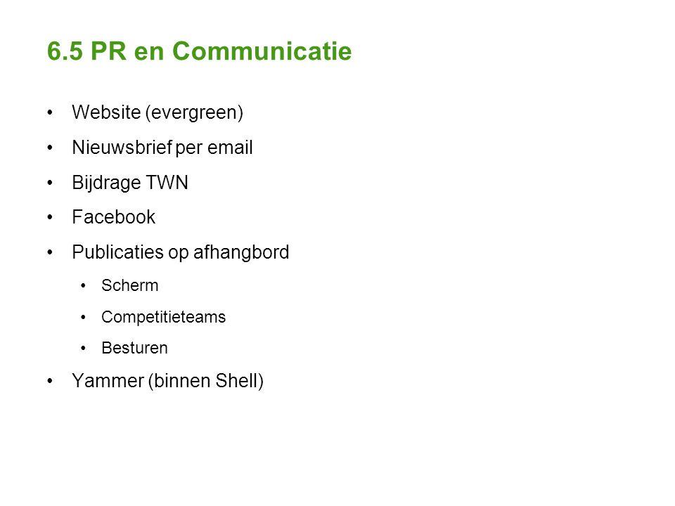 6.5 PR en Communicatie Website (evergreen) Nieuwsbrief per email Bijdrage TWN Facebook Publicaties op afhangbord Scherm Competitieteams Besturen Yammer (binnen Shell)