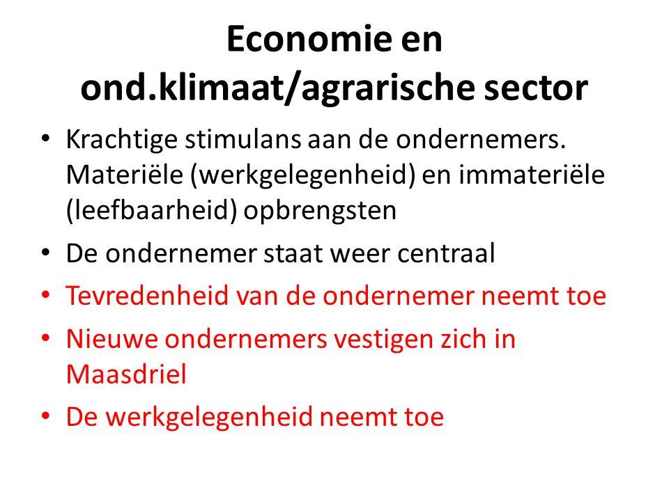 Economie en ond.klimaat/agrarische sector Krachtige stimulans aan de ondernemers. Materiële (werkgelegenheid) en immateriële (leefbaarheid) opbrengste