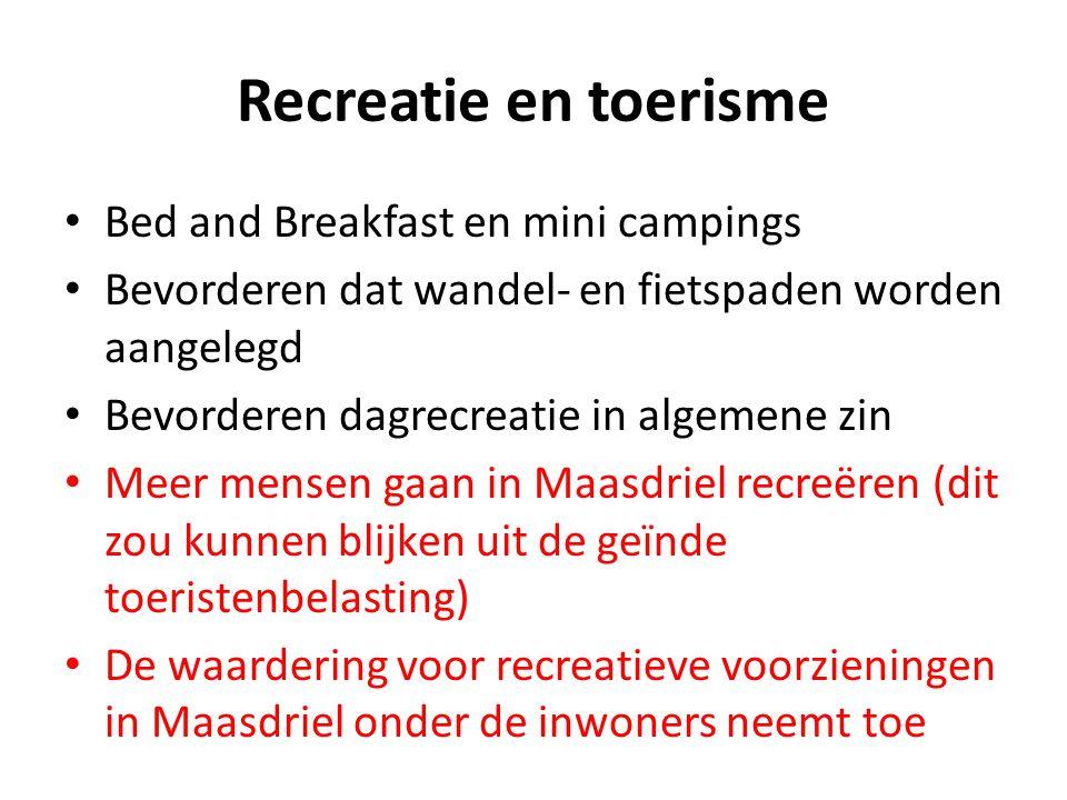 Recreatie en toerisme Bed and Breakfast en mini campings Bevorderen dat wandel- en fietspaden worden aangelegd Bevorderen dagrecreatie in algemene zin
