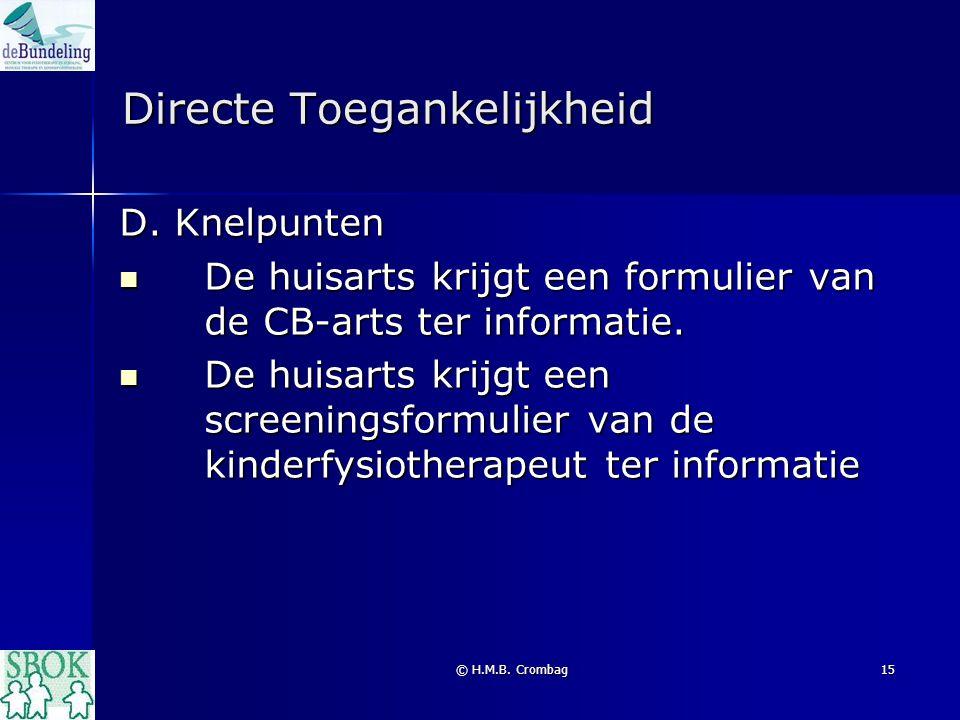 © H.M.B. Crombag15 Directe Toegankelijkheid D. Knelpunten De huisarts krijgt een formulier van de CB-arts ter informatie. De huisarts krijgt een formu
