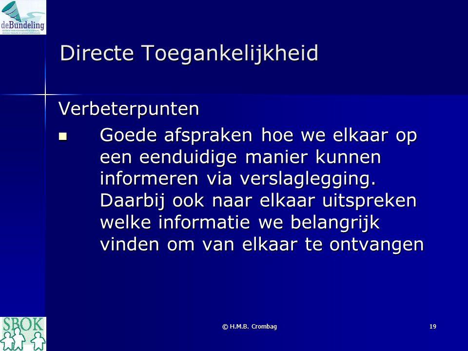 © H.M.B. Crombag19 Directe Toegankelijkheid Verbeterpunten Goede afspraken hoe we elkaar op een eenduidige manier kunnen informeren via verslaglegging