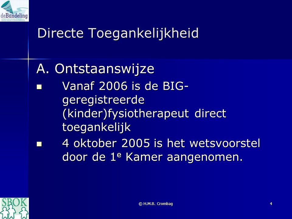 © H.M.B. Crombag4 Directe Toegankelijkheid A. Ontstaanswijze Vanaf 2006 is de BIG- geregistreerde (kinder)fysiotherapeut direct toegankelijk Vanaf 200