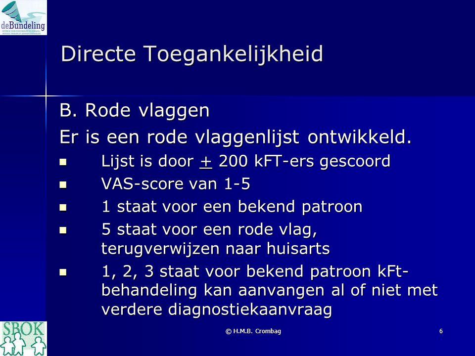 © H.M.B. Crombag6 Directe Toegankelijkheid B. Rode vlaggen Er is een rode vlaggenlijst ontwikkeld. Lijst is door + 200 kFT-ers gescoord Lijst is door