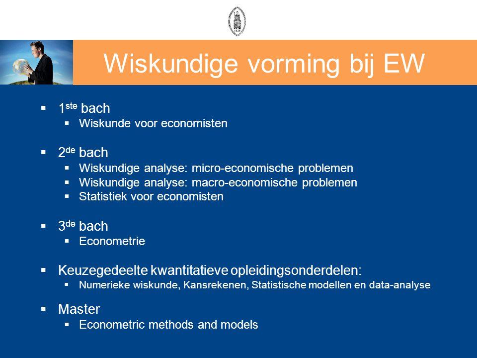 Wiskundige vorming bij EW  1 ste bach  Wiskunde voor economisten  2 de bach  Wiskundige analyse: micro-economische problemen  Wiskundige analyse:
