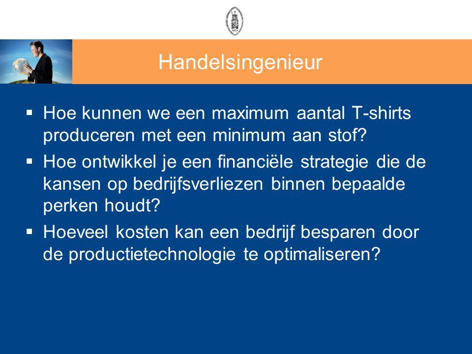 Handelsingenieur  Hoe kunnen we een maximum aantal T-shirts produceren met een minimum aan stof?  Hoe ontwikkel je een financiële strategie die de k