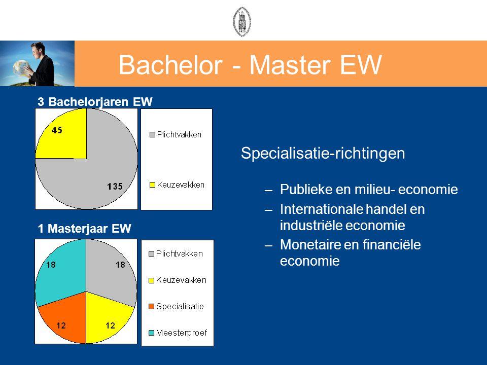 Specialisatie-richtingen –Publieke en milieu- economie –Internationale handel en industriële economie –Monetaire en financiële economie 1 Masterjaar E