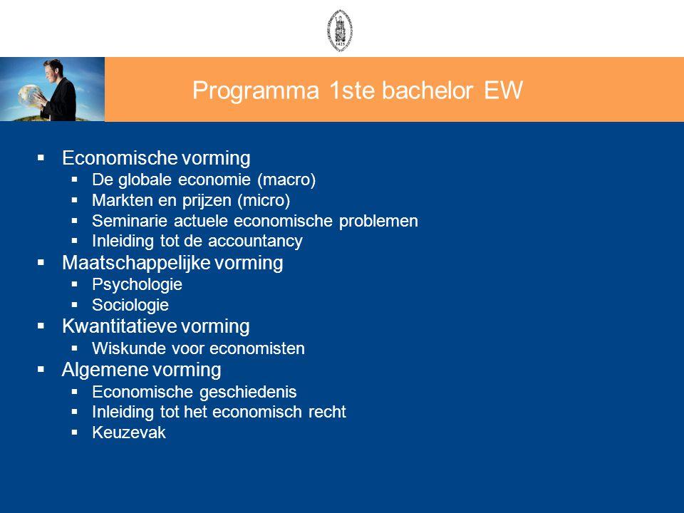  Economische vorming  De globale economie (macro)  Markten en prijzen (micro)  Seminarie actuele economische problemen  Inleiding tot de accounta