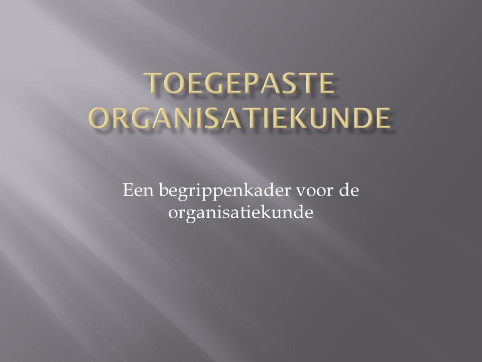 Een begrippenkader voor de organisatiekunde