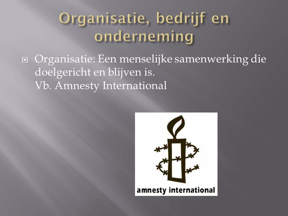  Bedrijf: Een organisatie die goederen en/of diensten voortbrengt met het doel deze op een afzetmarkt te verkopen.