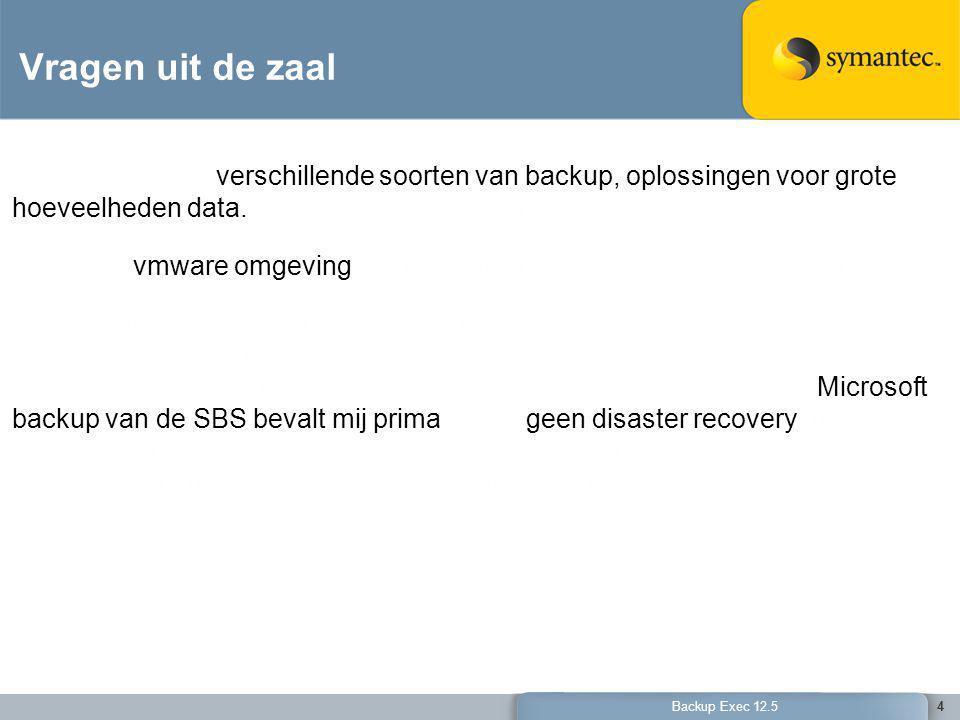 5 Backup Exec 12.5 Vragen uit de zaal 5 Ik weet wel dat we nu Symantec gebruiken en willen weten wat er nog meer kan en of het handiger kan.