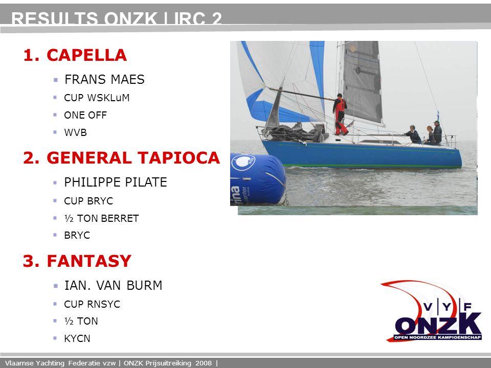 Vlaamse Yachting Federatie vzw | ONZK Prijsuitreiking 2008 | RESULTS ONZK | IRC 2 1.