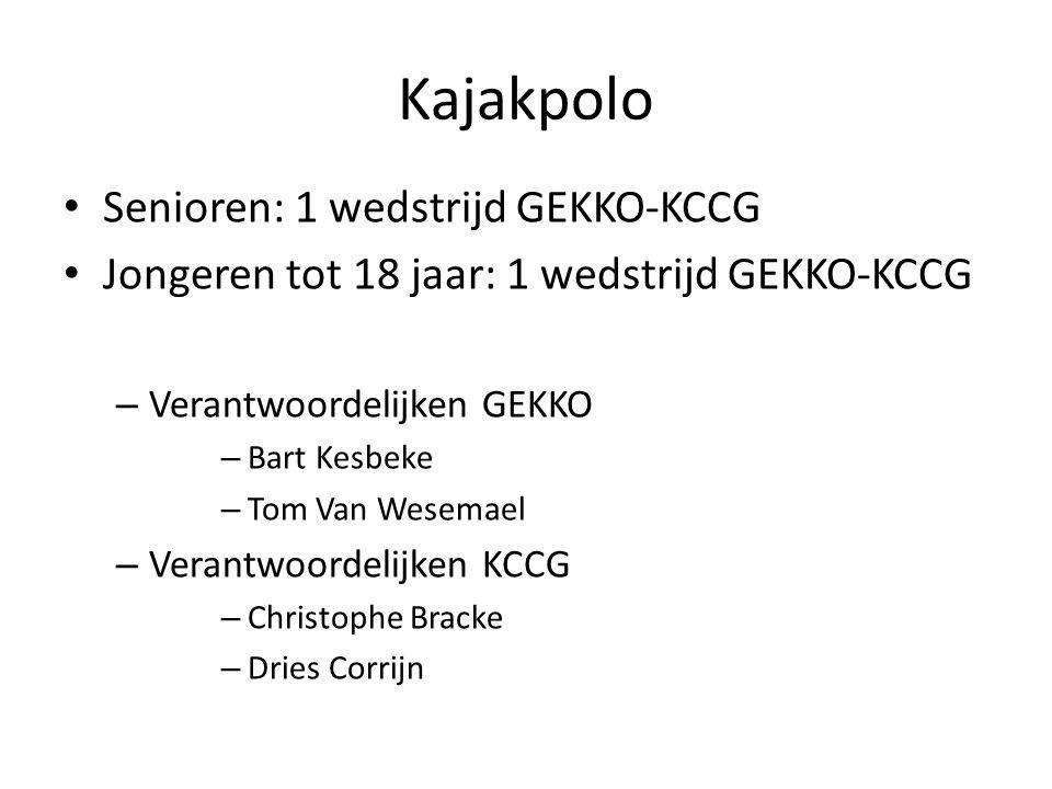 Kajakpolo Senioren: 1 wedstrijd GEKKO-KCCG Jongeren tot 18 jaar: 1 wedstrijd GEKKO-KCCG – Verantwoordelijken GEKKO – Bart Kesbeke – Tom Van Wesemael – Verantwoordelijken KCCG – Christophe Bracke – Dries Corrijn