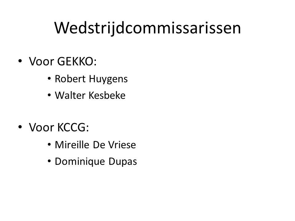 Wedstrijdcommissarissen Voor GEKKO: Robert Huygens Walter Kesbeke Voor KCCG: Mireille De Vriese Dominique Dupas