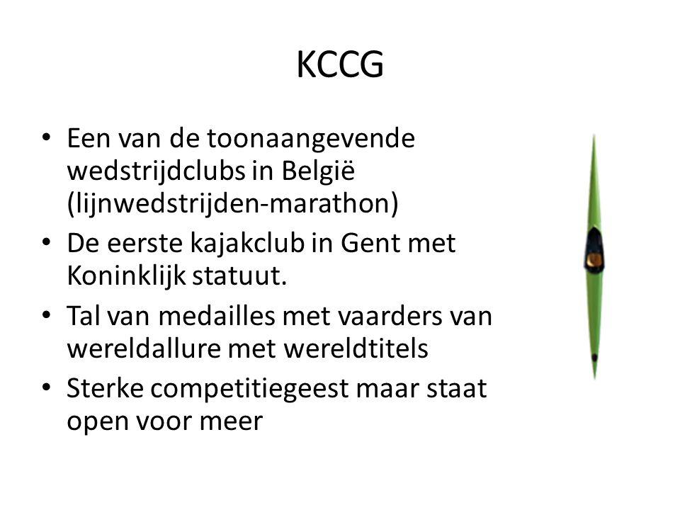 KCCG Een van de toonaangevende wedstrijdclubs in België (lijnwedstrijden-marathon) De eerste kajakclub in Gent met Koninklijk statuut.