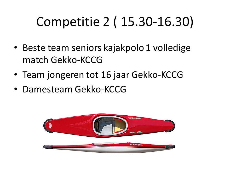 Competitie 2 ( 15.30-16.30) Beste team seniors kajakpolo 1 volledige match Gekko-KCCG Team jongeren tot 16 jaar Gekko-KCCG Damesteam Gekko-KCCG