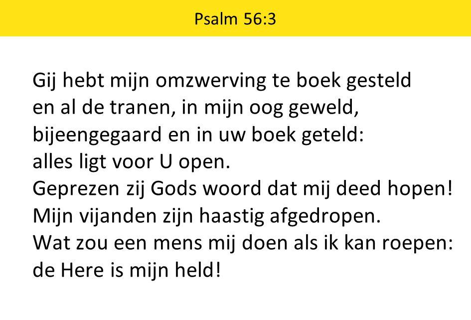 Psalm 56:3 Gij hebt mijn omzwerving te boek gesteld en al de tranen, in mijn oog geweld, bijeengegaard en in uw boek geteld: alles ligt voor U open. G
