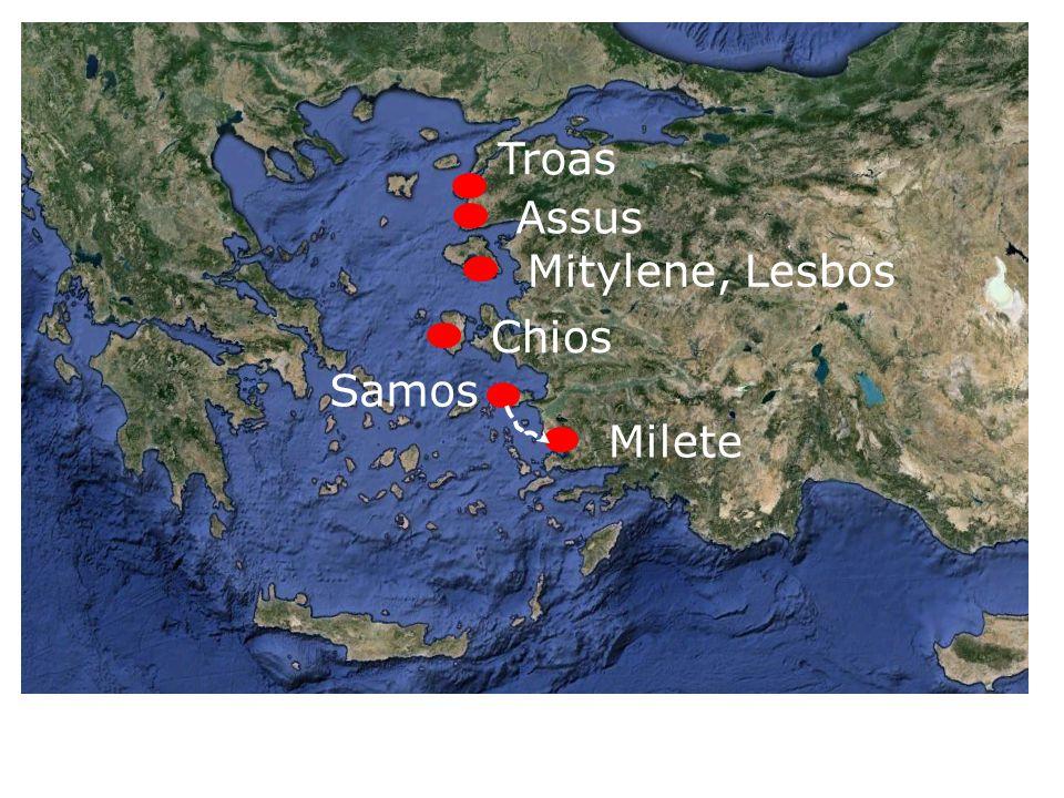 Troas Assus Mitylene, Lesbos Chios Milete Samos