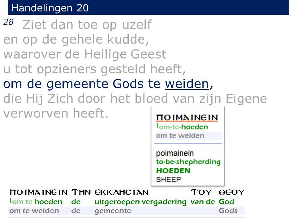 28 Ziet dan toe op uzelf en op de gehele kudde, waarover de Heilige Geest u tot opzieners gesteld heeft, om de gemeente Gods te weiden, die Hij Zich door het bloed van zijn Eigene verworven heeft.