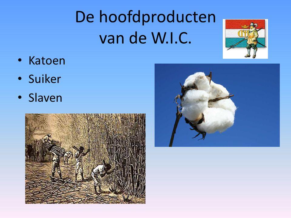 De hoofdproducten van de W.I.C. Katoen Suiker Slaven
