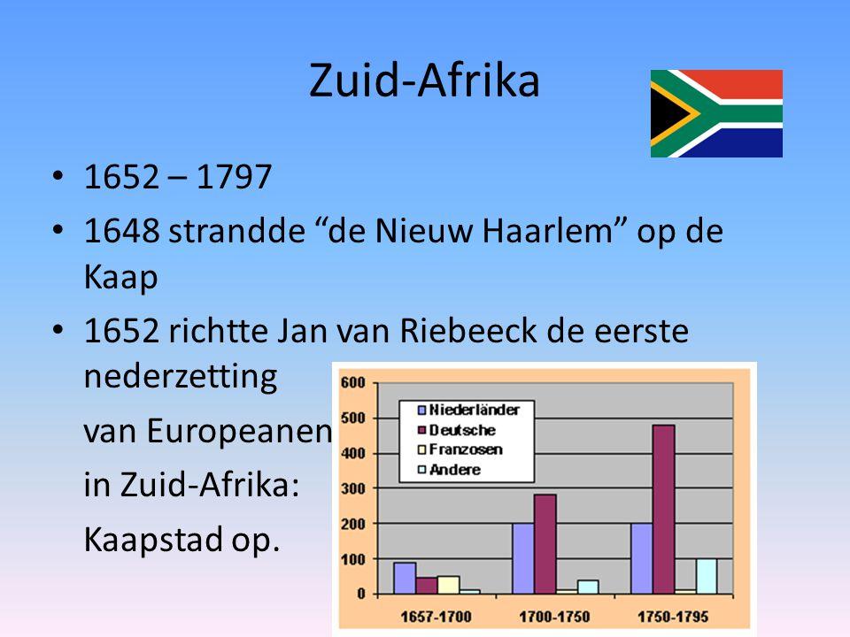 Zuid-Afrika 1652 – 1797 1648 strandde de Nieuw Haarlem op de Kaap 1652 richtte Jan van Riebeeck de eerste nederzetting van Europeanen in Zuid-Afrika: Kaapstad op.