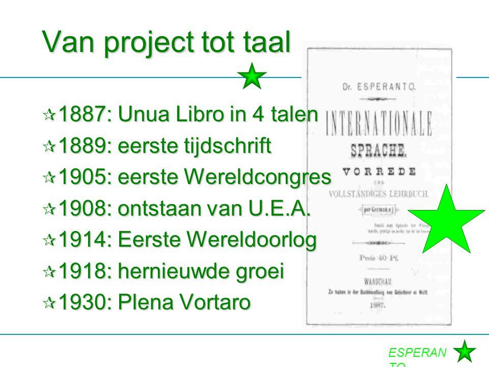 ESPERAN TO Van project tot taal  1887: Unua Libro in 4 talen  1889: eerste tijdschrift  1905: eerste Wereldcongres  1908: ontstaan van U.E.A.  19
