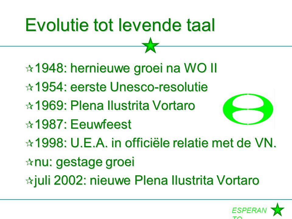 ESPERAN TO Evolutie tot levende taal  1948: hernieuwe groei na WO II  1954: eerste Unesco-resolutie  1969: Plena Ilustrita Vortaro  1987: Eeuwfees