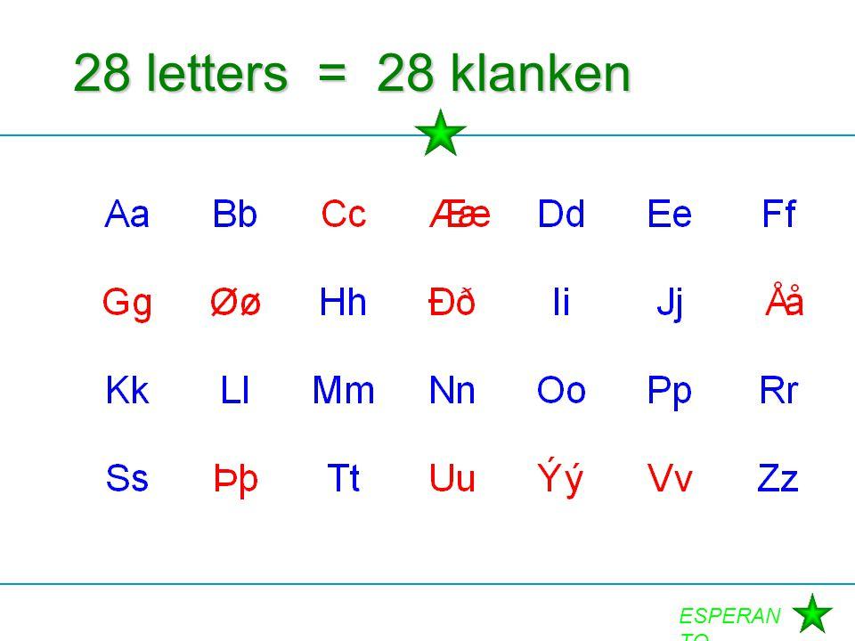 ESPERAN TO 28 letters = 28 klanken